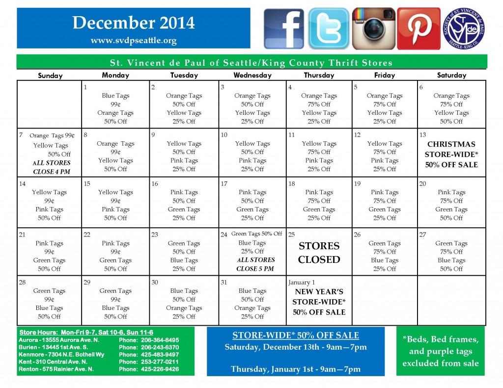 2014 Dec Calendar Rev 1 Store closing Times 11-13-14