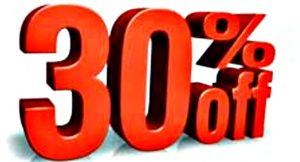 30 Percent Off 7-18-16