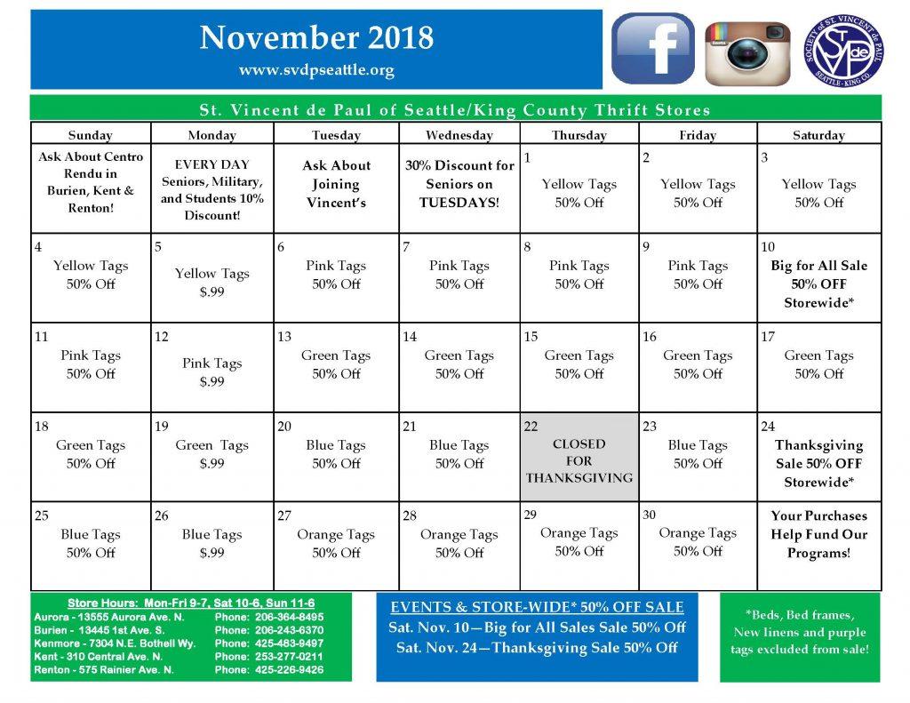 SVdP Store Calendar Nov. 2018