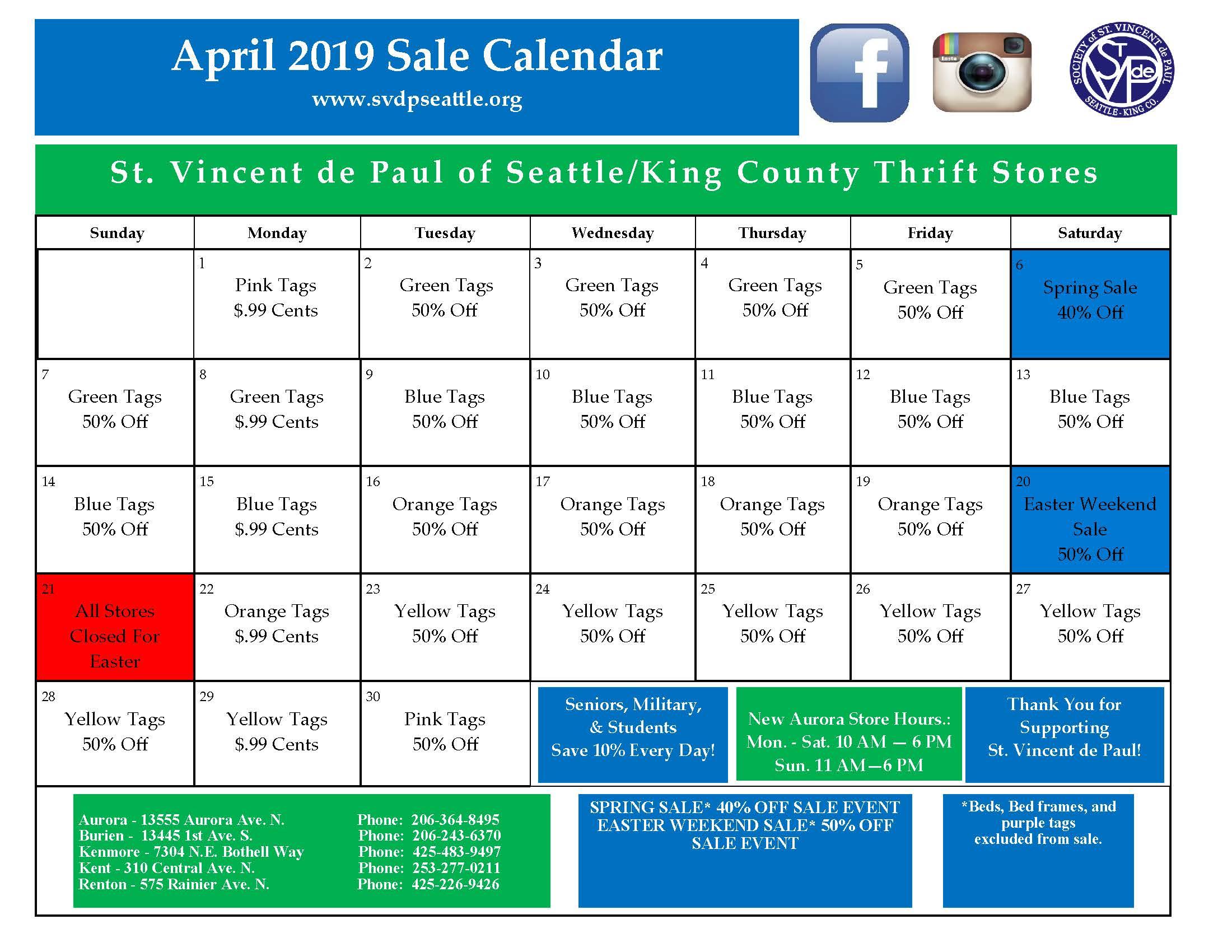APRIL 2019 CALENDAR 3-27-19