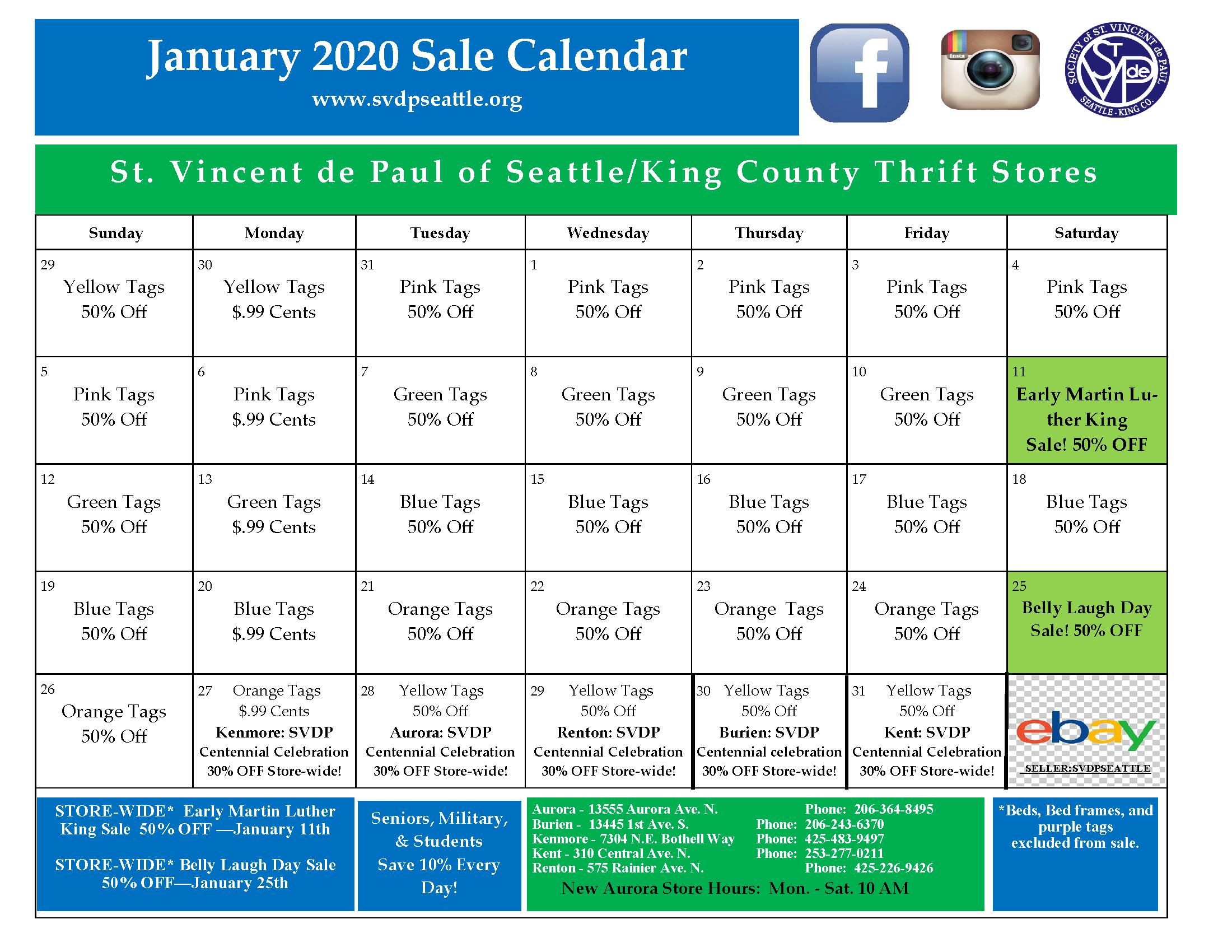 January 2020 Calendar 1-3-20