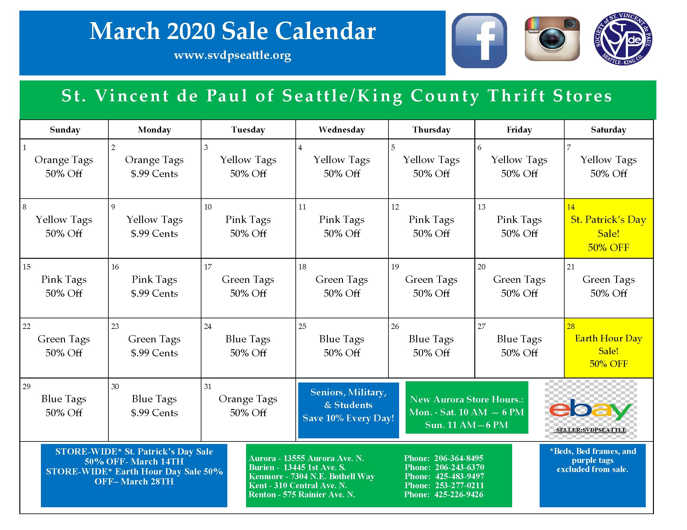 March 2020 Calendar-Ebay Link 2-28-20