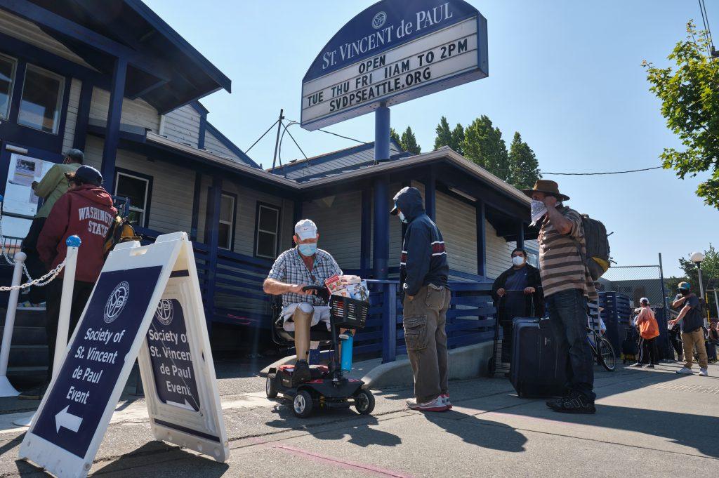St. Vincent de Paul Food Bank on Thursday July 30, 2020 in Seattle. (Photo by Stephen Brashear)